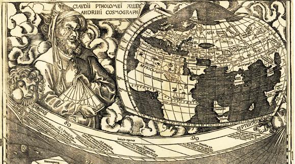 Ptolemäus auf einer Vignette der Waldseemüller-Karte