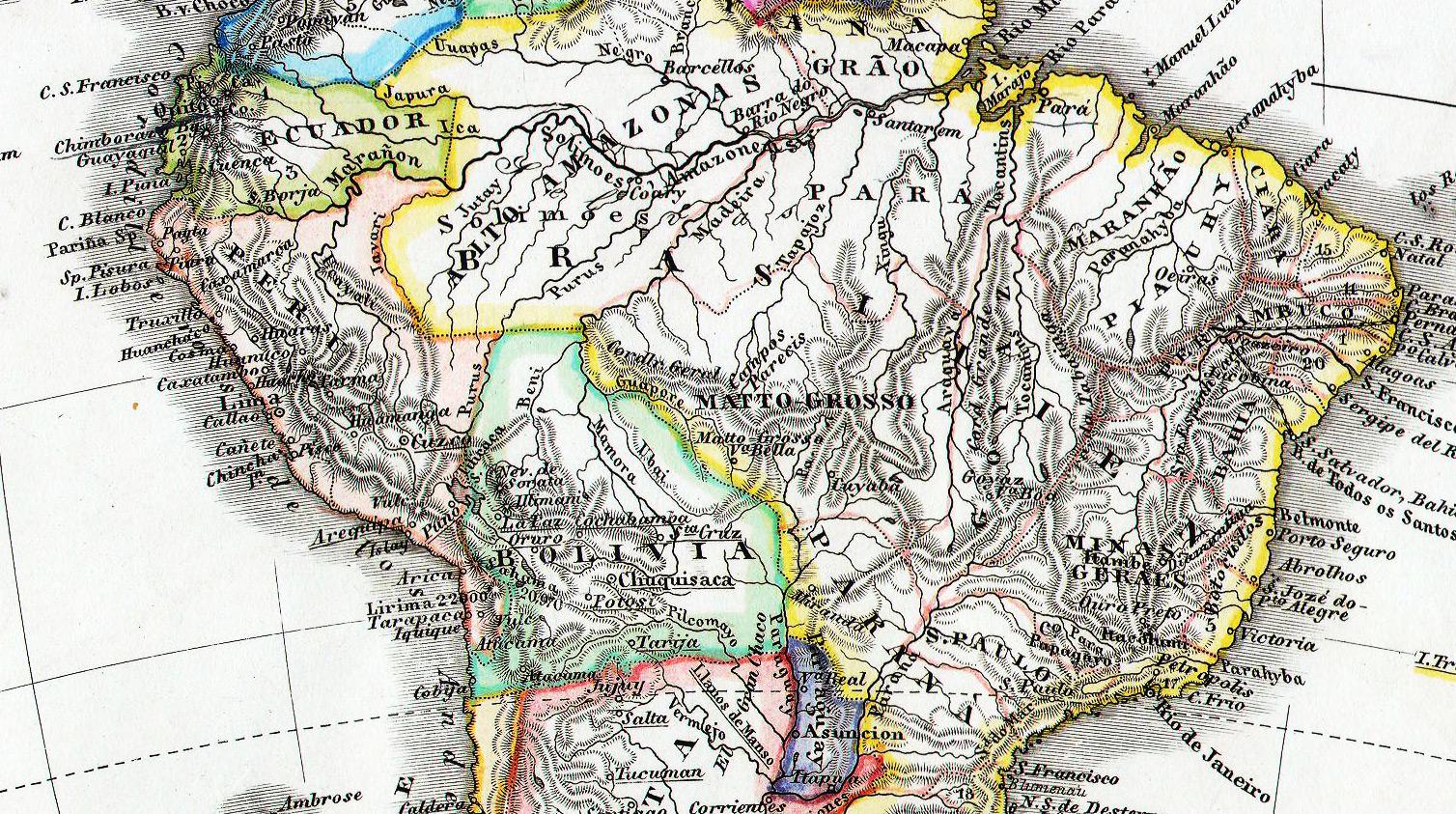 Karte von Amazonien 1862