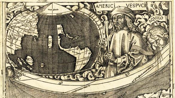 Amerigo Vespucci auf einer Vignette der Waldseemüller-Karte