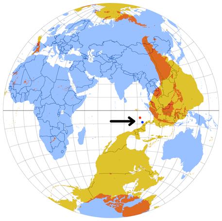 Antipoden-Globus mit den beiden Kokosinseln